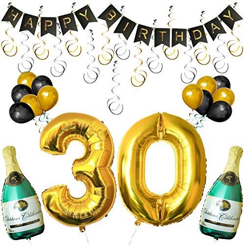 """(BELLE VOUS Happy Birthday Luftballons Banner Dekoration Set zum 30. Geburtstag Umfasst Aufblasbare Champagnerflaschen, 101,6cm Gold Nummer """"30"""" Ballons - Dekoratives Party Zubehör Deko Set)"""
