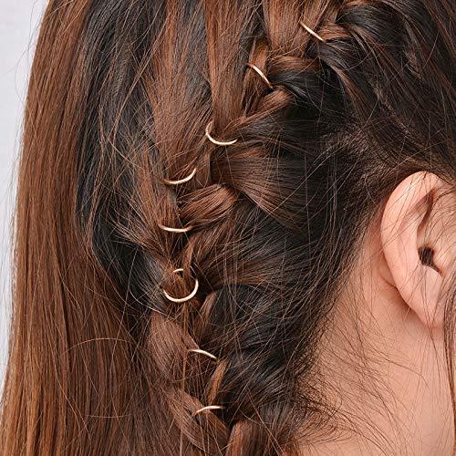 50 Stück Individuelle Freizeit-Haarspange, modische Perlenringe, Zopfringe, Haarreifen (Gold)