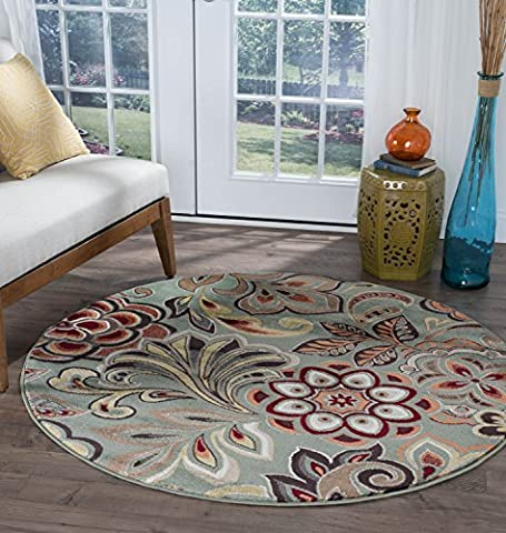 Universal Rugs Floral Transitional Round Accent Area Rug, Seafoam, 238