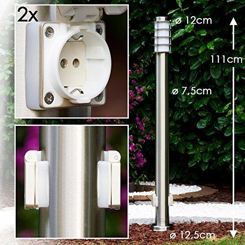 """Wegeleuchte Serie """"Tunes"""" mit zwei Steckdosen Stehlampe aus Edelstahl mit Schuko Stecker geeignet als Gartenleuchte"""