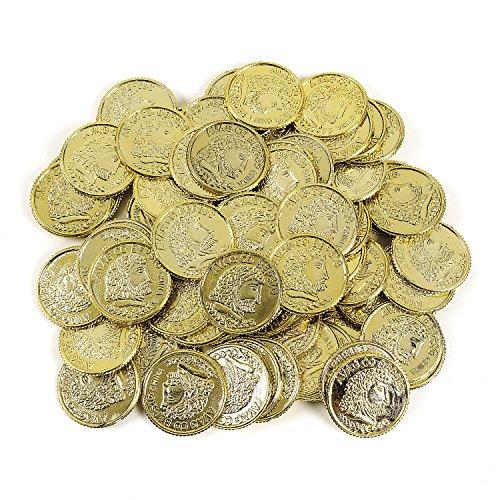 Preisvergleich Produktbild Piraten Goldtaler Spielgeld Aztekengold Schatzsuche Piratenparty Goldschatz 144 Taler Palandi®
