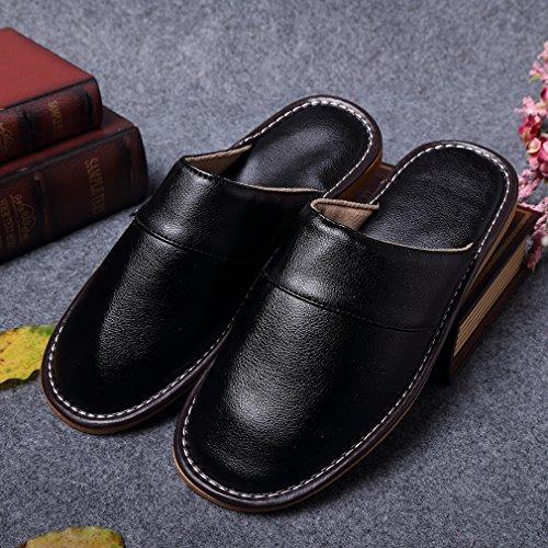 Lukis Herren Pu Leder Pantoffel Weich Hausschuhe Komfort Schuhe Schwarz