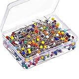 500 Pezzi 4 mm Spilli con Testa Vetro Boxed per Gioielli Componenti Decorazione Fiore, Multicolore
