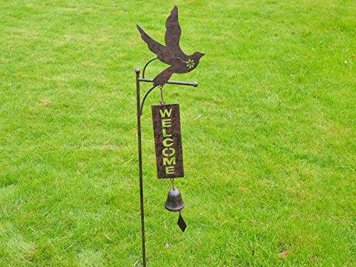 Rustikal Metall Gartenstecker mit Glocke und Willkommen Schild, verschiedene Designs erhältlich - Rustikale Metall-glocke