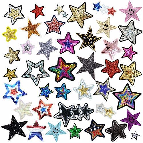 42 parches de estrellas con lentejuelas para ropa