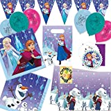 HHO Snowflake Frozen Eiskönigin Anna & ELSA Partyset 45tlg. für 6 Kinder Servietten Tischdecke Tüten Einladungen Konfetti Luftballons Wimpelkette