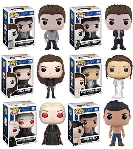 Twilight Jane Volturi Edward Cullen Edward Cullen Tuxedo Vampire Bella Swan Bella Wedding Dress Jacob Shirtless Vinyl Figures Set of 6 by Twilight