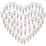 100pcs Mini Pinzas de Madera Pequeñas con Corazón Blanca 3.5cm Adorno de Fotos Ropa para Celebración Navidad Boda Papel Fotog