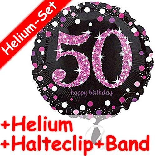 Runder Folienballon * HAPPY BIRTHDAY 50 * + HELIUM FÜLLUNG + HALTE CLIP + BAND * zum Geburtstag // Folien Ballon Deko Ballongas Mädchen Eltern Geschenk Helium Glitzer Punkte fünfzig fünfzigster (Fünfzig Dekorationen Geburtstag)