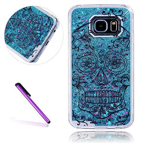 Galaxy S6Fall Samsung Galaxy S6Fall für Mädchen emaxeler Stylisches Bling Diamant Slim Case teilprozess Hard PC Back Cover Schutzhülle für Samsung Galaxy S6, Blue Liquid: Skull (Simpson Samsung Fall)