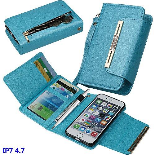 xhorizon FM8 [Aktualisiert] 2 in 1 Premium Bling Leder Geldbörse Strass KnopfverschlussMagnetisch Car Mount Phone Halter Kompatibel Folio Case für iPhone 7 [4.7