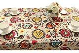 LY4U Vintage Spitze Sonne Blume Tischdecke, Leinen Bestickt Rechteck Waschbar Tischdecken Abendessen und Picnic Tischdecke, Home Dekoration, sortierte Größe, 140x140 cm(55x55 inch)
