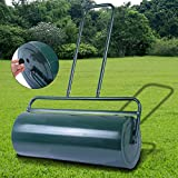 Costway 48L Garden Roller Heavy Duty Filled Water/Sand Lawn Grass Rolling Galvanized Steel Green
