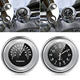 Zantec 22 25mm Motorrad Lenker Uhr Thermometer Wasserdichtes Zifferblatt Lenkerhalterung für Yamaha Kawasaki etc