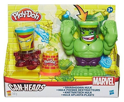 Image of Play-Doh Marvel Smashdown Can-Heads Featuring Hulk Figure