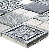 Mosaikfliesen Levanzo Glas Resin Ornament Mix Silber | Wandfliesen | Mosaik-Fliesen | Glas-Mosaik | Fliesen-Bordüre | Ideal für die Küche und Badezimmer (auch als Muster erhältlich)