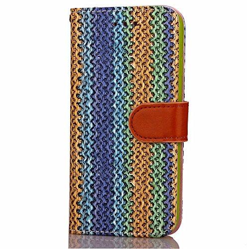 iPhone Case Cover iPhone 7 plus Argument, Holzmaserung Muster-Fall, PU-Leder-Kasten TPU Soft Cover mit Handschlaufe Standplatz-Mappen-Kasten für Apple iPhone7 plus ( Color : 1 , Size : Iphone 7 Plus ) 2