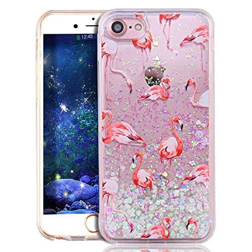 iPhone 7 Plus Case Femme,iPhone 7 Plus (Not pour iPhone 7 4.7 Pouce) Coque Anti chock Transparente Plastic Liquide Coque Etui Case Cover,iPhone 7 Plus Coque Bling Diamant Cœur Etui Coque,iPhone 7 Plus Flamingo 8