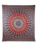 Wandteppich Indian Mandala Wall Hanging Hippie Tapestry Wanddeko für Kinderzimmer Wohnzimmer Schlafzimmer auch als Yogamatte Picknickdecke Strandtücher (150 x 205cm, Rot und Grün)