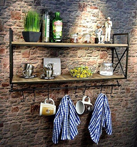 Livitat® Küchenregal Wandregal Badregal Metall Holz Industrie Design Vintage LV5037