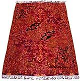 Lorenzo Cana High End Luxus Wolldecke aufwändig Jacquard gewebtes Paisley Muster flauschig weich Decke 100% Wolle Wohndecke Sofadecke Wohndecke Rot in exotischer Eleganz