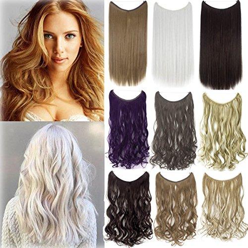 20-22 Zoll unsichtbarer Faden keine Klipps synthetische Haarverlängerung heimliche Angelleine Haarteil