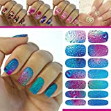 FOK 12 Pc Self Adhesive Tip Nail Art Stickers Stencil Decals Stamping DIY Nail Decoration Tool Nailart Accessory...