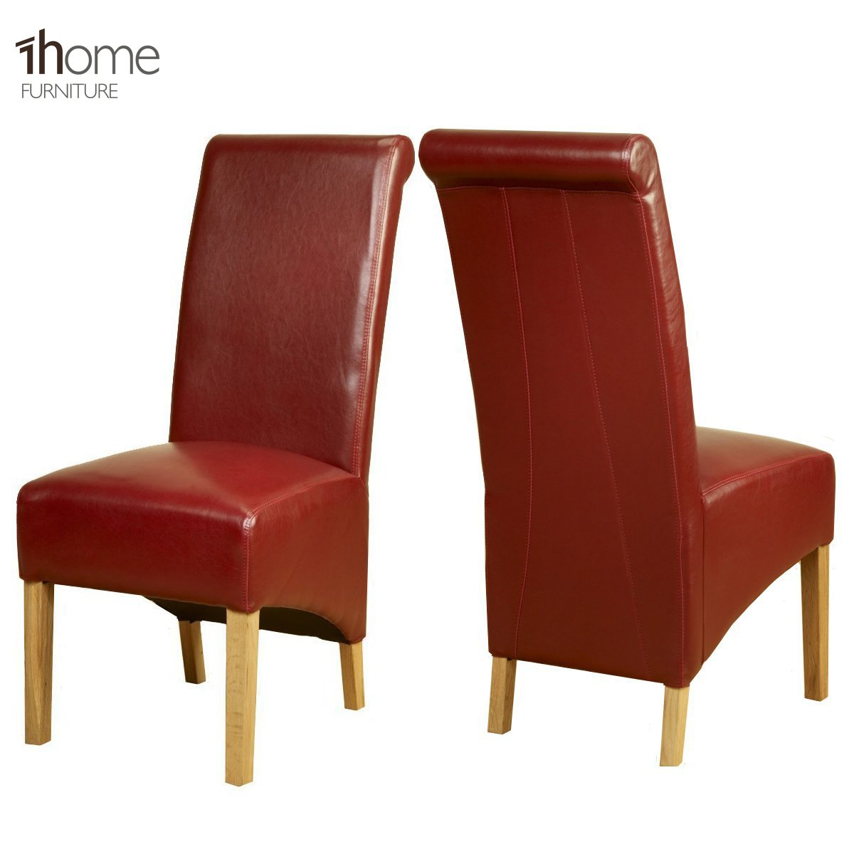 1home Leather Dining Chairs Scroll High Top Back Oak Legs ...