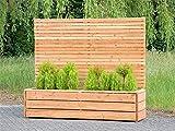 Pflanzkübel Holz lang mit Sichtschutz, Transparent Geölt Natur