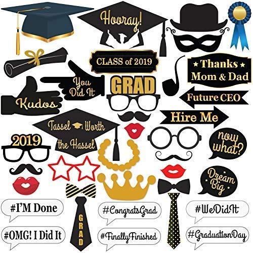 katchon 2018Graduation Photo Booth Requisiten, keine DIY erforderlich, Graduation Dekorationen für Graduation Party Supplies, Class of 2018, Congrats Grad, große Größe für mehr Spaß, 38Zählen