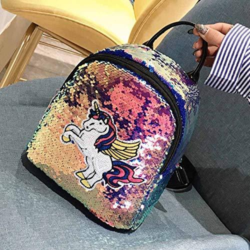 yangzhoujinbei Rucksack, weich, niedlich, mit Pailletten und Einhorn, für Reisen, Schultasche, Regenbogen-Plüsch, Mädchen, Herren, violett -