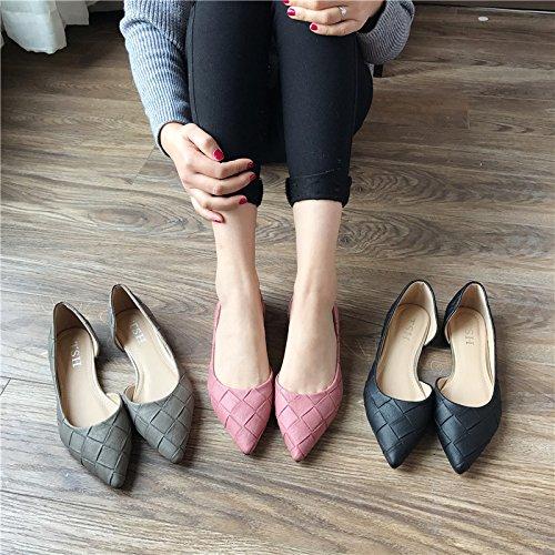 WYMBS La nouvelle était mince chaussures plates femmes bouche peu profonde talon plat chaussures vide côté pelle gray