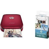 HP Sprocket Imprimante Photo portable (Bluetooth, Impression Couleur sans Encre 5 x 7,6 cm) Rouge  + HP ZINK Papier Photo (50 feuilles, 5 x 7,6 cm, dos autocollant)