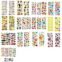 New Celebration 33 Assorted Mix Cute 3D Puffy Kids Stickers Craft Scrapbook Self Adhesive Reusable Cars Butterfly Jungle Animals Dinosaur Princess Spider-man Emoji Smiley Butterfly Animals