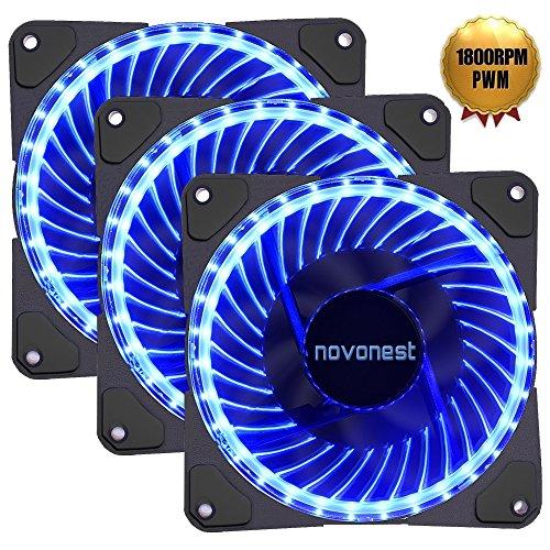 upHere novonest Gehäuselüfter PWM 4pin-LED Quiet Edition 120mm High Airflow Blau LED Lüfter,Anti Vibration Gummi Pads