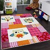 Alfombra Para Habitación Infantil Moderna De Búhos Multicolor En Rosa Y Crema, Grösse:80x150 cm