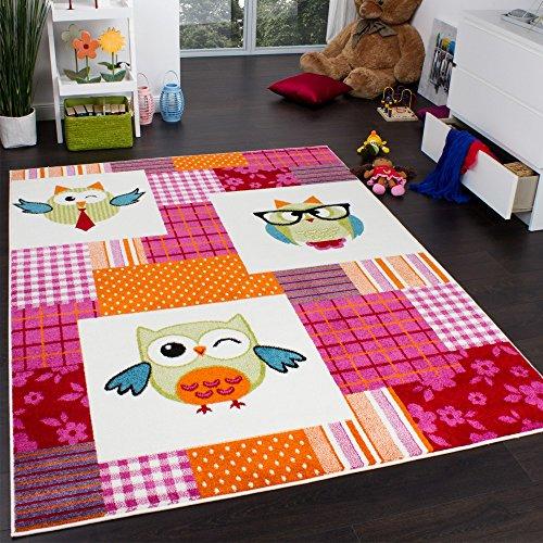 Teppich Kinderzimmer Trendige Eulen Kinderteppich Eule Mehrfarbig Pink Creme, Grösse:80x150 cm