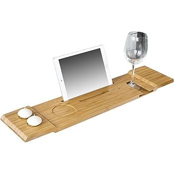 SoBuy FRG104-N 70cm Lang- Schöne Badewannenablage, Badewannenbrett, Badewannenauflage, Halterung / Halter für iPad oder Handys
