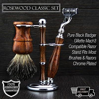 wooden vintage classic luxury shaving sets Badger hair shaving Brush Mach3 Razor