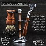 Set de afeitar de madera con estilo clasico vintage - Brocha de pelo de tejon, navaja Mach3