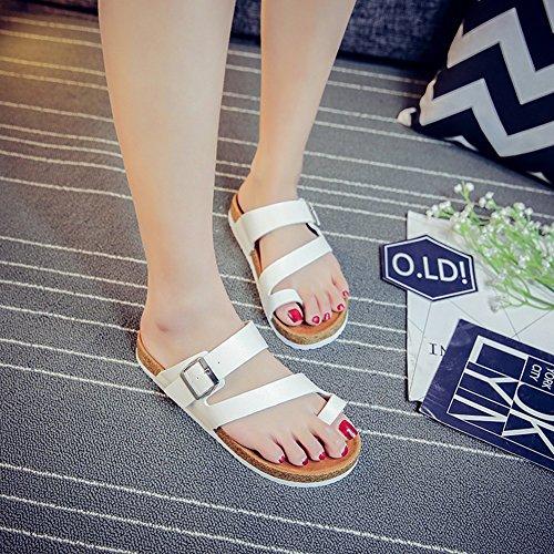 Damen Thong Sandalen Unisex Flach Pantoletten mit Korkfußbett Flip Flop Zehengreifer Clip Toe Sandalen Strand Schuhe Weiß