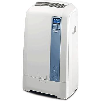 De'Longhi PAC WE112 Eco Mobiles Klimagerät (Klimaanlage, Wasser-Luft-Technologie, Max. Kühlleistung 3,0 kW/11.500 BTU/h, Separate Entfeuchtungsfunktion, Geeignet für Räume bis zu 100 m³) [Energieklasse EEK A+]
