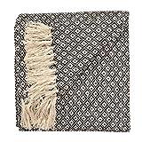 Fair Trade Tagesdecke, weich und handgewebt, Sofa-Überwurf, Webmuster in Diamanten-Design, 100 % Baumwolle, 130x 180cm, TH136BK