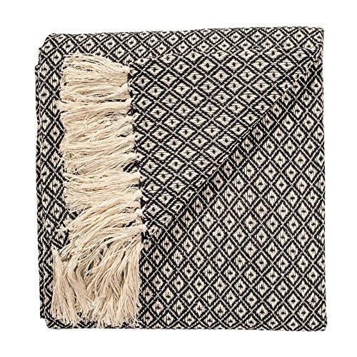 Fair Trade Soft Hand Woven Tagesdecke Sofa Sofa Überwurf Black Diamond Weave Muster 100% Baumwolle 130x 180cm th136bk (Woven Hundebett)