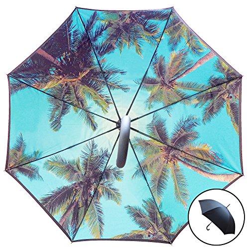 Studio Starling S Paradiso ombrello | automatico, Tempesta sicuro windund urchlaessiger Stock ombrello con doppio strato Canopy-palme stampato interno/esterno nero