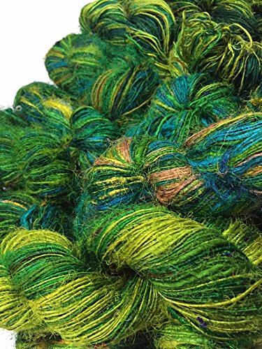 aus recyceltem Sari Seide Garn–Ocean of grün-(100Gramm) (Sari Recycling)