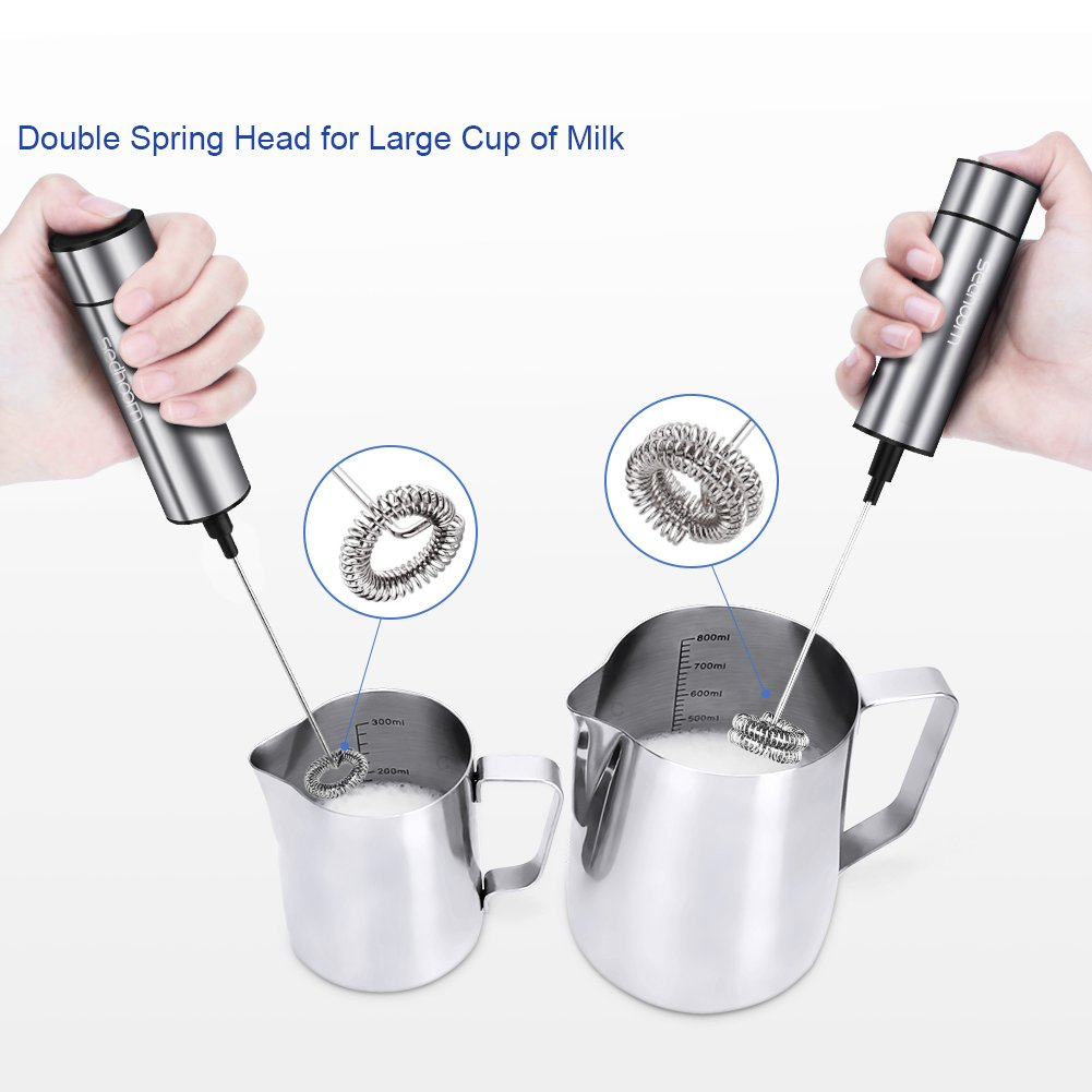 Sedhoom-Milk-Frother-Handheld-Double-Powerful-Electric-Foam-Maker-Beater-with-Additional-Single-Spring-Whisk-Head-StainlessSteel