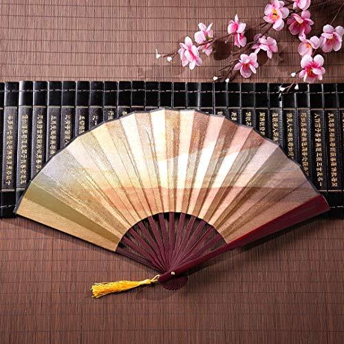 Handheld Fan schöne Wüste im Sonnenuntergang mit Bambus Rahmen Quaste Anhänger und Stoffbeutel Hand Air Fan Plain Folding Fan chinesische Fans für Kinder ()