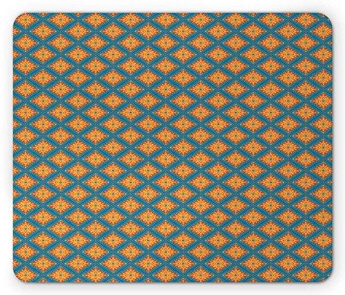 Oriental Mouse Pad, Ethnic Floral Paisley Mandala Motifs with Vintage Elements and Frames, Standard Size Rectangle Non-Slip Rubber Mousepad, Blue Vermilion Mustard -