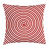 BUZRL Spires Decor Throw Pillow Cushion Cover, Tapering Spiral Concentrate Emanates to a Point Centripetal Planar Curve Image, Decorative Square Accent Pillow Case, 18 X 18 inches, Red White